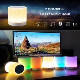 Wholesale Colorful Buttons For Sale - Hot Sales Colorful Touch LED Light Lamp With Bluetooth Speaker Hands-free Call Wireless TFCard Music Player Smart Speakers Subwoofers 10 set