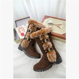 Wholesale Plush Alligators - Hot Sales 2017 Fall Winter Women's Smooth Suffix Frosted Rabbit Long Boots Slope Big Sizes Snow boots women Size 35-40 Free Shipping