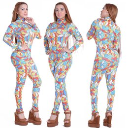 Wholesale Wholesale Womens Club Wear - Rompers Womens Jumpsuit 2016 Sexy Women Print Long Sleeve Backless Skinny Bodycon Bandage Jumpsuits Party Night Club Wear