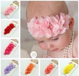 NUEVA venda del bebé niña niños perla gasa flores cosidas a mano trenza de encaje elástico diadema banda para el pelo accesorios para el cabello niños desde fabricantes