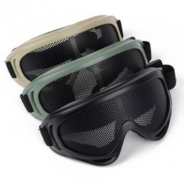 Wholesale Metal Mesh Goggles - Outdoor Airsoft Tactical Eye Protection Metal Mesh Pinhole Glasses Goggle 3Color