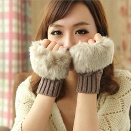 Wholesale Knit Arm Warmers - Women Girl Knitted Faux Rabbit Fur gloves Mittens Winter Arm Length Warmer outdoor Fingerless Gloves colorful