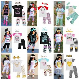Wholesale Wholesale Christmas Outfits - Christmas Baby Clothes Girls Ins Clothing Sets Xmas Letter T Shirts Pants Heandband Outfits Striped Arrow Tops Pants Hairband Suits B2882