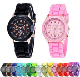 Wholesale ladies rose gold chronograph watch - New popular geneva watches silicone rubber jelly candy watches unisex mens womens ladies colorful rose gold dress quartz watches