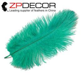 Wholesale Aqua Decorations - ZPDECOR Feather Wholesale 30-35cm(12-14inch) Hand Select Aqua Green Dye Ostrich Feather Plumes For Festival Decoration