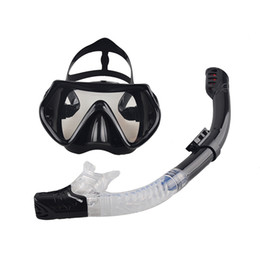 Wholesale diving equipment set - Wholesale- 2016 New Professional Scuba Diving Mask Snorkel Anti-Fog Goggles Glasses Set Silicone Swimming Fishing Pool Equipment 6 Color