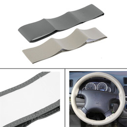 Wholesale Black Gray Steering Wheel Cover - Gray Beige Black DIY PU Leather Cowhide Car Steering Wheel Cover Case Clothes With Needles and Thread