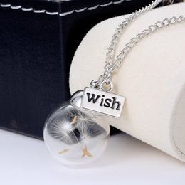Wholesale Plants Seeds Bulbs - New Statement Necklaces 20 28MM Dandelion Real Seed Glass Bulb Wish Necklaces Make A Wish necklaces