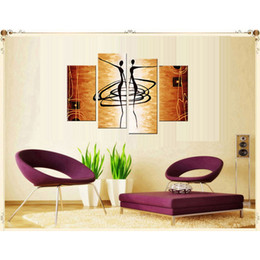 Wholesale Ballet Combination - 4 Picture Combination Dancing Women Abstract Oil Painting Fashion Wall Decorative Beautiful Girl Ballet Dancing Oil Painting On Canvas