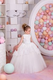 Wholesale Holiday Bridesmaid Dresses - 2016 New Arrival Birthday Holiday Wedding Party Bridesmaid Ivory Tulle Lace Flower Girl Dresses
