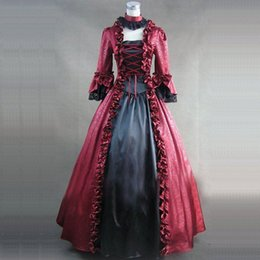 Wholesale Long Dress Brocade - High Quality Red Brocade Renaissance Georgian Gothic Victorian Dress Gown Steampunk Reenactment Theatrical Costume