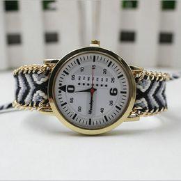 Wholesale Round Braid Bracelet - 2016 New Handmade Braided Friendship Bracelet Watch Women GENEVA Hand-Woven Thread Ladies Quartz-Watch 12 Colors