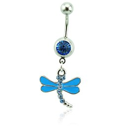 Wholesale Dragonfly Piercing - Body Piercing Fashion Belly Button Rings 316L Stainless Steel Barbells Blue Rhinestone Dragonfly Navel Piercing Jewelry
