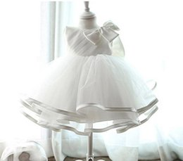 Wholesale Newborn Christening Gowns - retail 2016 Newborn baby Baptism Dress Christening Gown Girls' party Infant Princess wedding dress baby clothing sleeveless veil Tutu dress