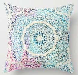 Wholesale Swirl Cover - Wholesale-Free Shipping Watercolor Mandala Swirl Stylish Best Pillows Home Soft Throw Pillowcase Square Zip Pillow Cover
