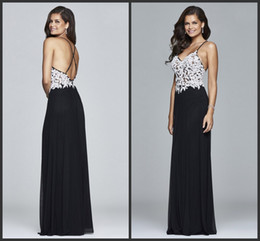 Wholesale Cross Back Black Dress - Evening Gowns Cheap White And Black Dress Chiffon Gowns Criss Cross Back Sexy Design Floor Length Long Prom Dress Sleeveless Modest Style