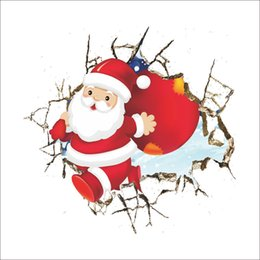 Wholesale Xmas Decals Free - Merry Christmas Xmas Santa Claus cartoon cute Wall Stickers Window Home DIY Decal Decor free shipping