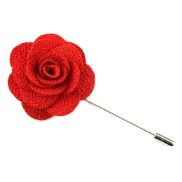 Wholesale Silver Plated Alloy Flower Brooches - lily Lapel Flower camellia Handmade Boutonniere Brooch Pin Men's Accessories in 22 colors