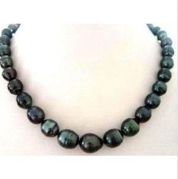 "Wholesale Baroque Tahitian Pearl Necklace - 18"" 10-12mm baroque Natural tahitian black pearl necklace 14K white gold clasp"