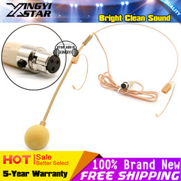 Wholesale xlr pin connector - Beige Colour Mini XLR 3 Pin TA3F 3Pin Connector Headworn Earhook Headset Microphone Mic For Wireless Bodypack Transmitter