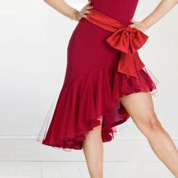 Wholesale Red Salsa Skirt - A25 New Adult Latin Dance Dress Salsa Tang Cha cha Ballroom Competition Group Dance Skirt 4Color S-XXL Customizable