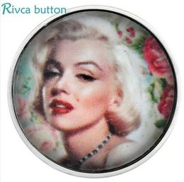 Wholesale Marilyn Blue - D02984 Cheaper Newest Design Glass Marilyn Monroe style snap button For WomenFit 18 20mm DIY Snap Button Bracelet Jewelry