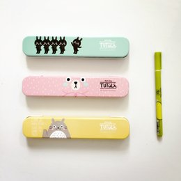 Wholesale Metal Tin Pencil - Wholesale-H19 Cute Kawaii Totoro Tutula Bear Metal Tin Pencil Case Pen Box Storage Case Student Stationery School Office Supply