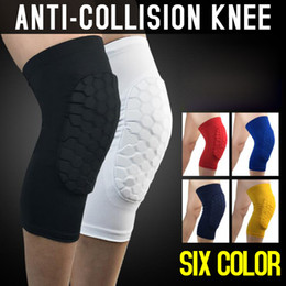 Wholesale Dark Legs - Professional Breathable Sports Men Honeycomb Long Knee Support Brace Pad Protector Sport Basketball Leg Sleeve Sports KneePads Free Shipping