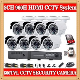 Wholesale Dvr Drive 1tb - CIA- Home 8CH CCTV Security camera set day night 600tvl Camera with 8channel DVR Kit 1tb hard drive Color Video Surveillance System