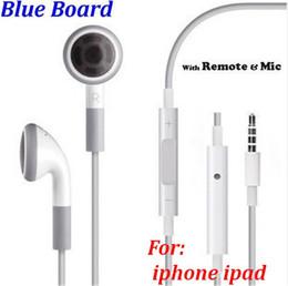 Wholesale Ipad Headphones Volume Control - 200pcs lot* Best Quality Blue Board EarPods Earphone handsfree with Mic VOL volume control headphones headset For IPHONE ipad