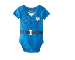 giraffenknöpfe Rabatt Wholesale-One Piece Baby Gentleman Strampler Baumwolle Kurzarm Neugeborenen Baby Boy Kleidung Mädchen Körper Overall Overalls