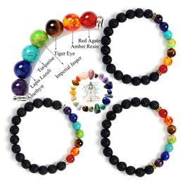 Wholesale Turquoise Bead Buddha Bracelet - New 7 Chakra Bracelet Men Black Lava Healing Balance Beads Reiki Buddha Prayer Natural Stone Yoga Bracelet For Women