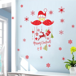 Wholesale Deer Vinyl Wall - Removable Snowflakes Merry Christmawindow glass decorative wall decals Deer Gifts Vinyl wall sticker Decals Window Shop decor