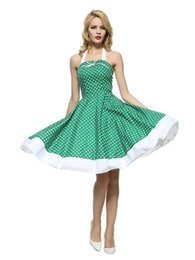 Wholesale Cross Dress Clothes - Vintage dresses dot bow ball gown sexy dresses summer ladies clothes sleeveless one-piece dresses fashion princess dress casual halter dress