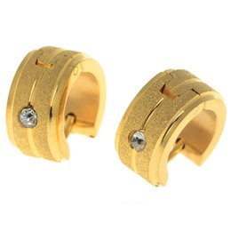 Wholesale Gold Inlay Jewelry - Hot Sale Round Hoop Earrings Inlay Zircon Elegant Women Men Earrings Jewelry For Gift 5Pairs 18K Gold Plated Huggie H5