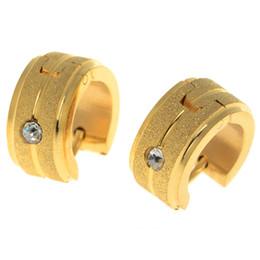 Wholesale Elegant Jewelry For Men - Hot Sale Round Hoop Earrings Inlay Zircon Elegant Women Men Earrings Jewelry For Gift 5Pairs 18K Gold Plated Huggie H5
