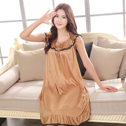 Wholesale Sexy Women Sleepwear Silk - Wholesale- Sexy Satin Sleepwear Silk Sexy Lace Nightgown Women Nightdress Sexy Lingerie Plus Size M L XL XXL XXXL Female Nightie