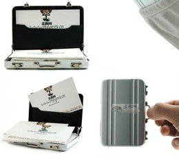 Wholesale Plastic Business Cards Box - Silver Aluminum Business Card Holder Credit Coin Case Mini Suitcase passqord design box stash also offer bracelet stash plastic case bag