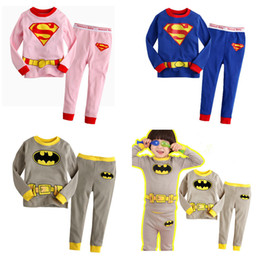 Wholesale Pajama Sets For Girls - Big kids super hero homewear sleepwear 2pc sets printing top T shirt+pants boys girls pajama sets leisure wear cosplay costumes for 2-7T