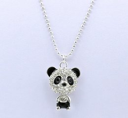 Wholesale Cute Sweaters For Women - Cheap Price Imitation Diamond Sweater Chain Necklace Cute Zircon Panda Pendant Necklaces Jewelry For Women Gifts QW