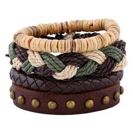 Wholesale Punk Rock Rivets - Bracelets Fashion Jewelry PU Woven Leather Men's Bracelets Sets Rivet Alloy Bracelets Personality Casual Vintage Rock Punk Bracelet BH001