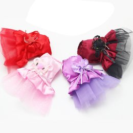 Wholesale Princess Apparel - Small Female Pets Dog Cat Bow Tutu Dress Lace Skirt Puppy Cat Princess Costume Apparel Clothes