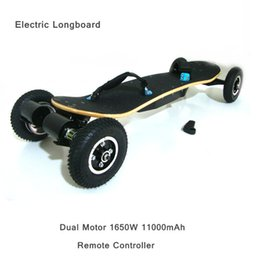 Wholesale Remote Skateboard - No tax to US EU Four Wheels Electric Skateboard Dual Motor 1650W 11000mAh Electric Longboard Hoverboard Scooter Super-speed With Remote