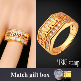 Wholesale Vintage Gold Band Ring - Men's 18K Gold Platinum Plated Zircon Fashion Rings Gold Men Jewelry G Vintage Band Rings 6-10