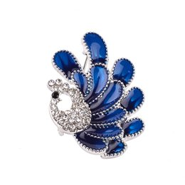 Wholesale Peacock Rhinestone Jewelry - 2018 New lovely peacock with jewelry drip rhinestone brooch pin female square round corsage pin shawl collar buckle ZJ-0903684