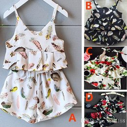 Wholesale Girls Suspended Neck - New Summer Baby Girls Chiffon Printed Flower Sets Suspended+Short Pants Kids Toddler Wide Leg Pants Suits Children Clothing Gifts ZJ-B16