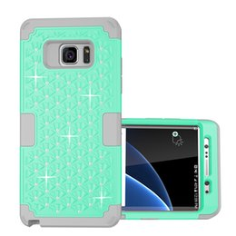 Wholesale Iphone Case Bling Starry - Starry Front+back Bling Diamond Hybrid Case Hard PC+Soft TPU Armor 3in1 Dual PC Case Shockproof For Iphone 7 Plus Galaxy Note7 Note 7 S7