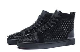 Canada High Top Studded Black Spikes Bas Rouge Chaussures De Luxe Casual Appartements Pour Hommes et Femmes Paris Designer Sneakers Filet écran Offre