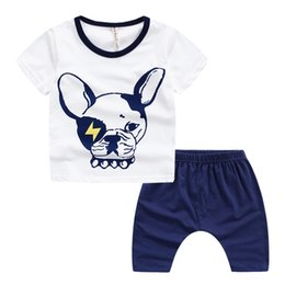 Wholesale Dog Baby Sets - Quality new baby clothes cute Dog print kids clothes baby boy sets t-shirt + PP shorts Harem boys clothing wholesale pre-school outdoor wear