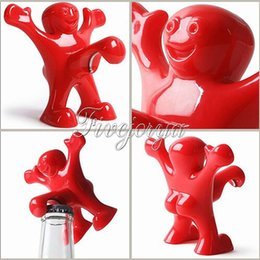 Wholesale Soda Stopper - Wholesale- Bar Cork Screw Red Fun Happy Man plastic Wine Beer Soda Bottle Novelty Opener Stopper Red Wine Bottle Opener Cork
